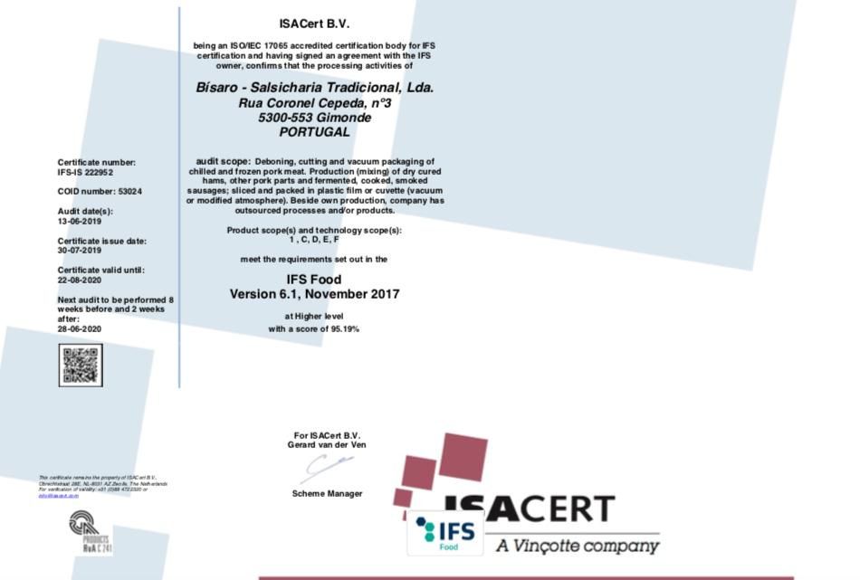 Bísaro - certificada IFS - Food