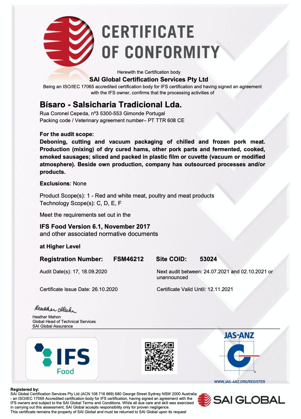 Certificação IFS - Food 2020